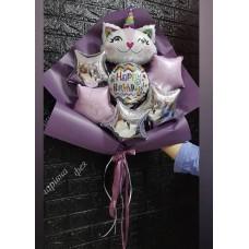 Букети зібрані з кульок Киця Єдиноріг